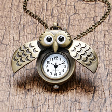 Cartoon Cute Bronze Vintage Night Owl Necklace Pendant Quartz Pocket Watch Necklace P27(China (Mainland))