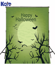 Kate Theme Happy Halloween Photographic For Studio Green Sky Bat Lightful Moon Photo Bloodcurling Backdrops