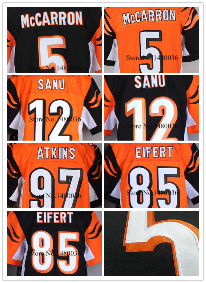 High Quality Cincinnati #18 AJ Green #14 Andy Dalton Elite 100% Stitched Logos Authentic Bengal American Football Jerseys(China (Mainland))