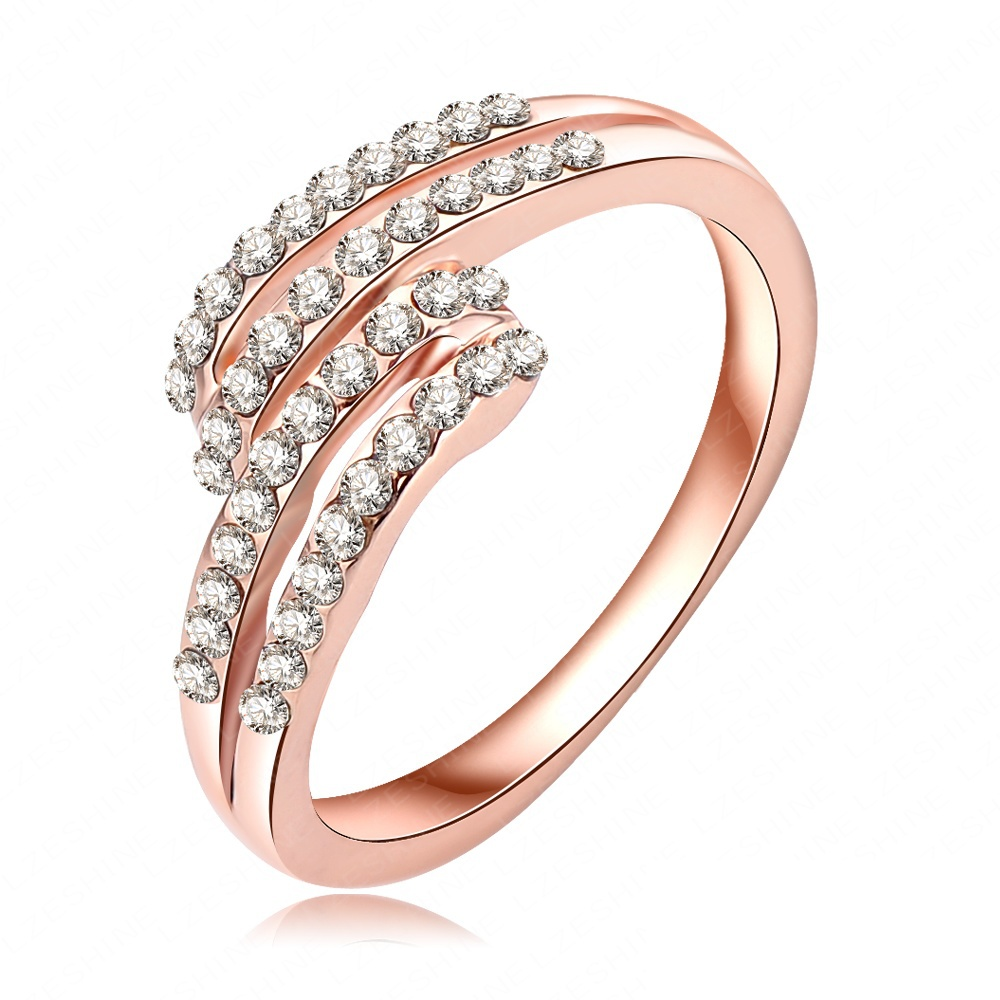 2014 New Design Engagement Rings 18K Rose Gold Plated With Austrian Crystal S