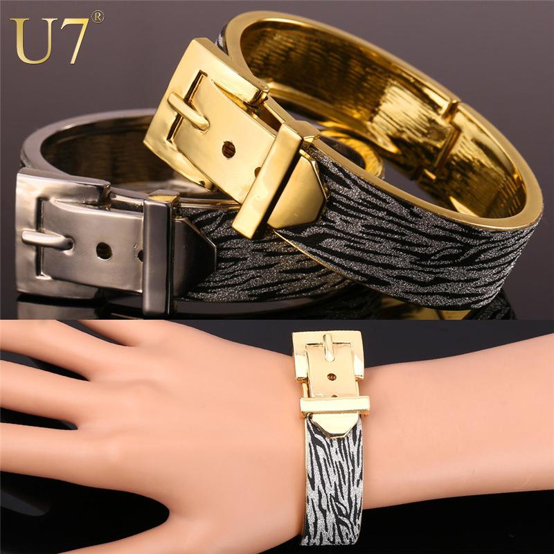 Trendy Big Bracelet For Women /Men Jewelry Wholesale 18K Gold /Platinum Plated Glitter Fabric Belt Bracelets Bangles 2015 H664(China (Mainland))