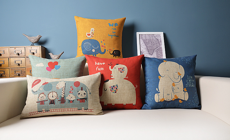 elephant pattern home decoration pillow covers sofa cushion leaning sets car cover - ninety one store