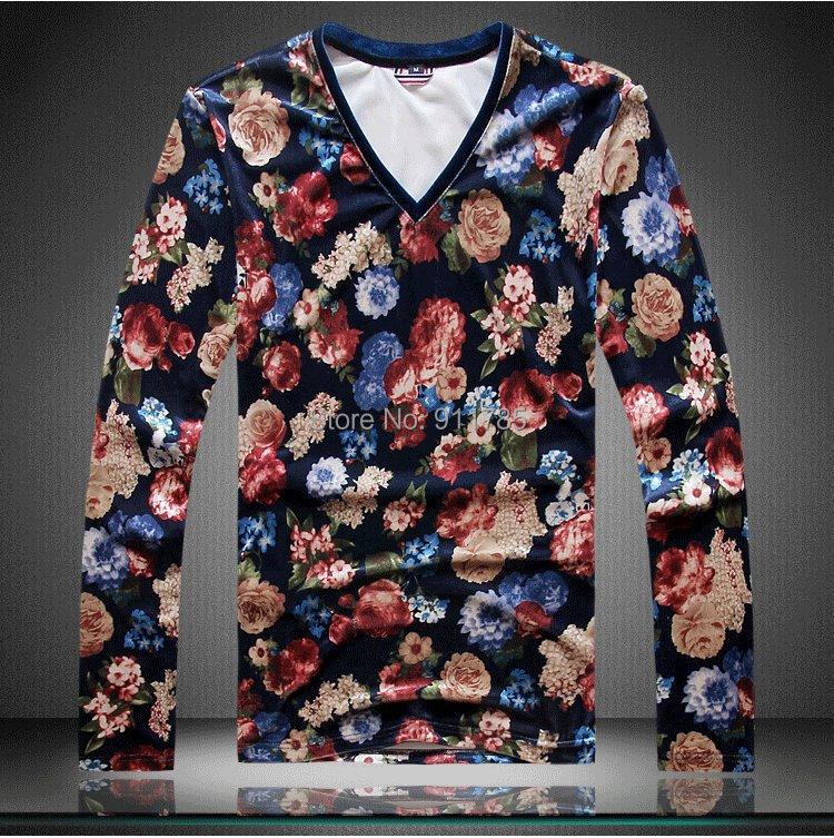 2015 new autumn Unique Floral printed Velvet long-sleeve T-shirts men casual slim men,M-4XL - LANG MEI'S store