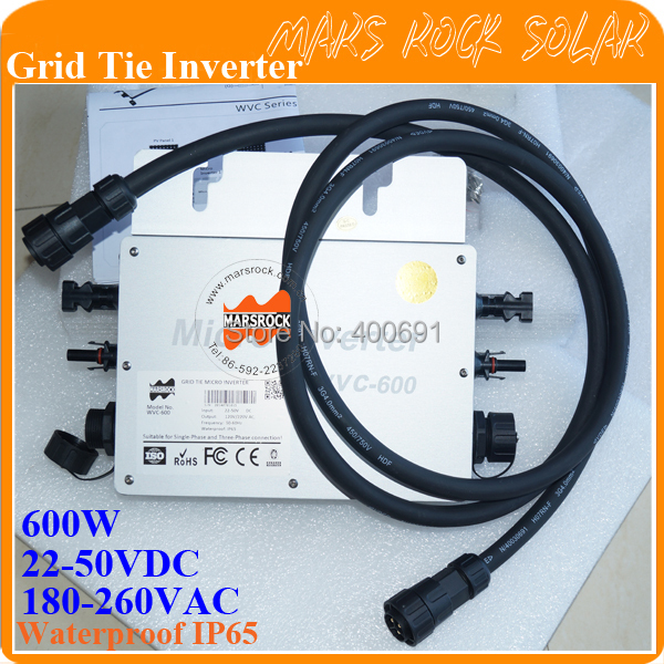 600W waterproof grid tie solar&wind inverter,wide voltage 22-50VDC to 180-260VAC, have communication function with 2 meter cable(China (Mainland))