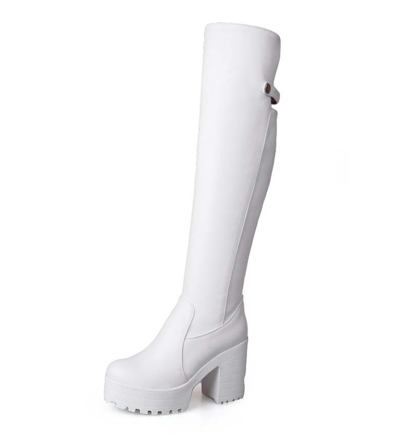 New Arrival Black / White Over The Knee Fashion Sweet Casual Warm Female Lady Winter Knee-High Boots shoes women new <br><br>Aliexpress