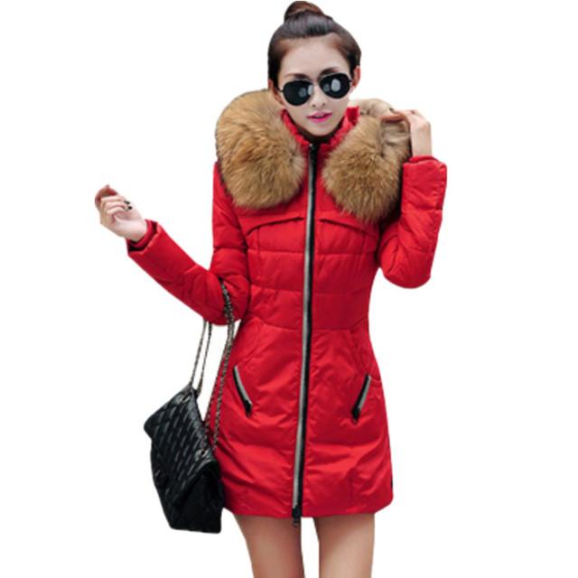 2016 осенние и зимние женщины парка верхняя одежда утка пуховик с большой меховой воротник Большой размер s-xxxl утолщение длинное пальто