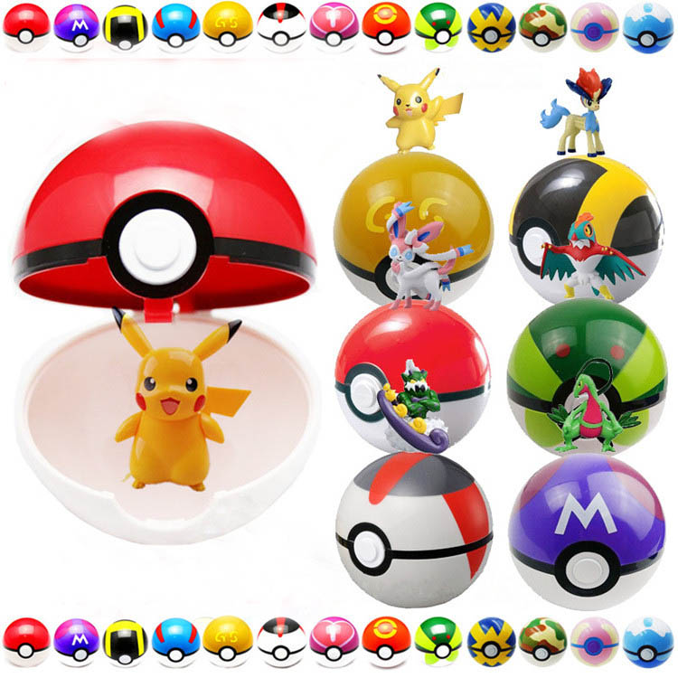 7CM 13 Styles Pokeballs 1 pokeball+1 Figure Poke ball Pikachu Master Balls Action Figures toys For Boys kids brithday Xmas Gifts(China (Mainland))