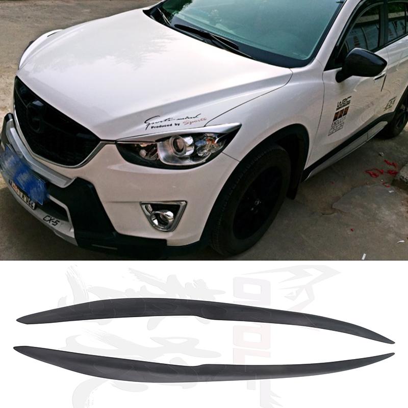 CX-5 FRP Primer Car Headlight Eyelid Eyebrow Cover Trim Sticker Mazda CX 5 2012-2016 Ducks-garden Style