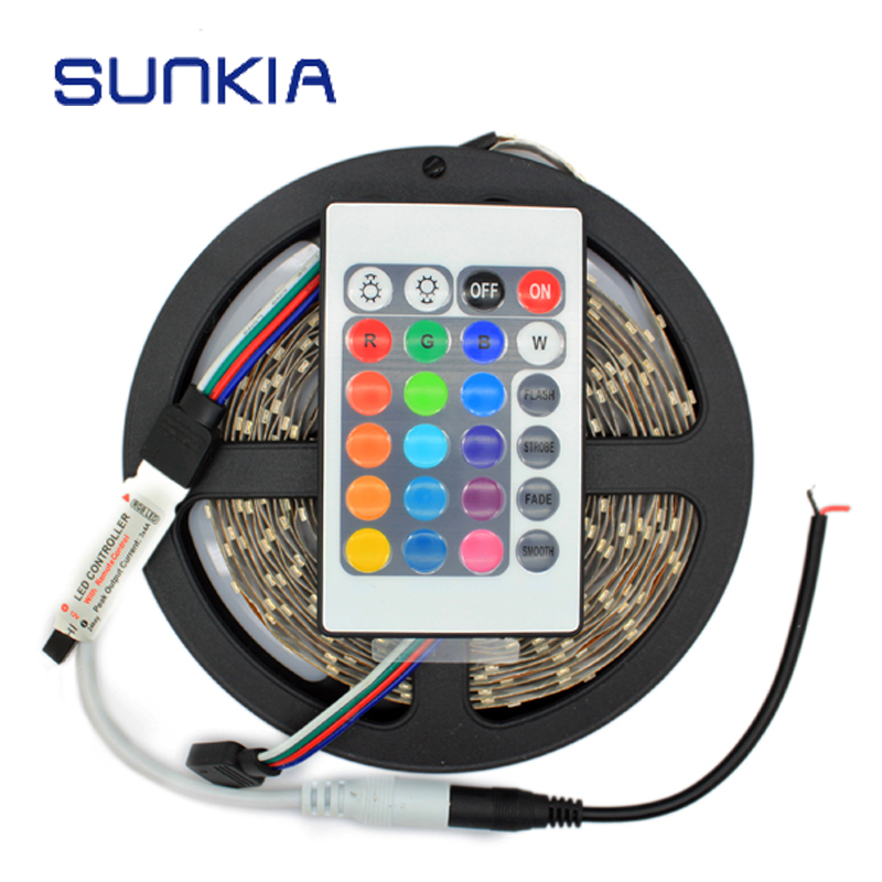 3528 LED Flexible Light 60LED/M 5M Led Strip RGB With 24Key Remote Controller/Warm White/Red/Blue/Green Lamp Bulb Free Shipping(China (Mainland))