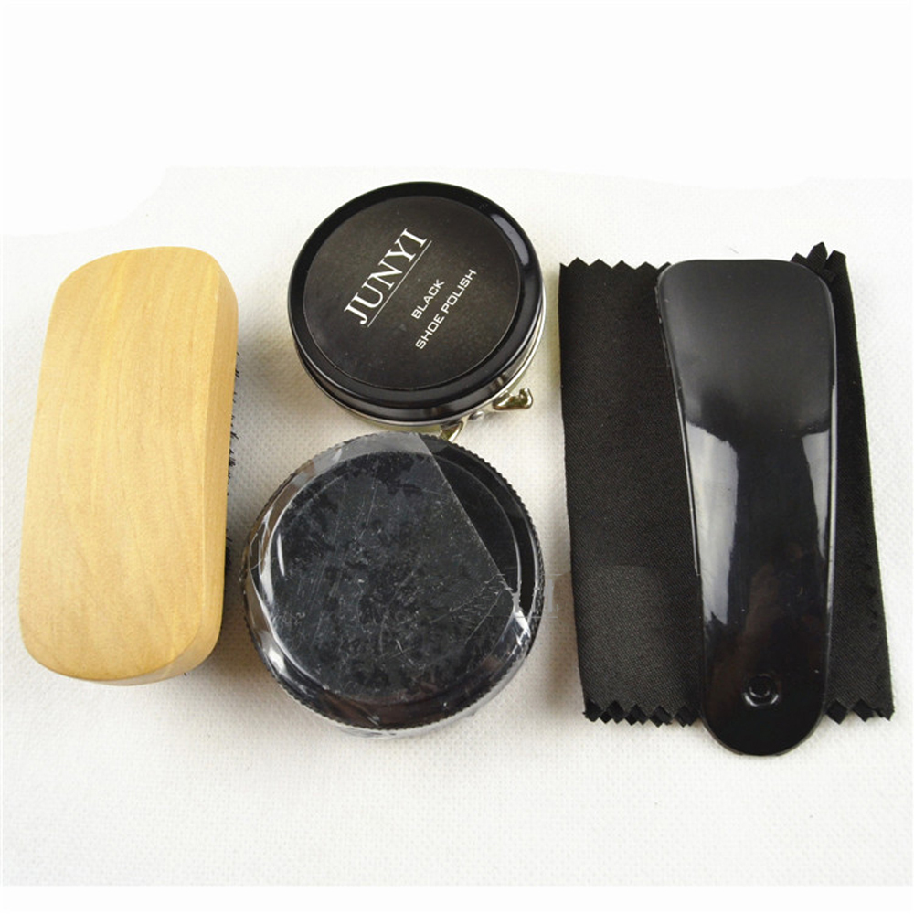 Nylon Case Shoe Shine Care Set Black Polish Brush Kit for Boots Shoes Sneakers(China (Mainland))