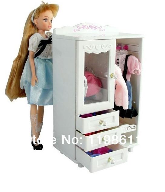 Free Shipping,Do Promotion doll mini furniture wardrobe+hanger for barbie doll, kurhn doll(China (Mainland))