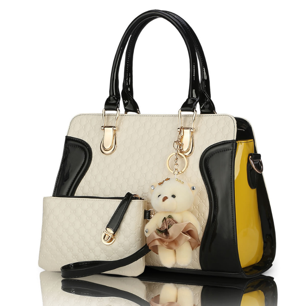 2015 new European American fashion casual alligator pattern handbag patent leather PU shoulder bag with purse bear tool(China (Mainland))