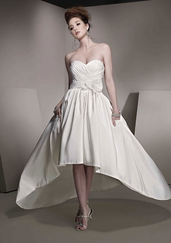 Beach Wedding Dresses Short In Front Long In Back : Fashionnew design a line short front long back pleated and