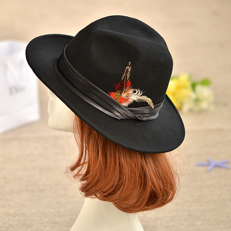 2016 100% Pure Wool Cowboy Hat Feather Decoration Black Top Strap Women Cap Thicken Fascinator Sombrero Casquette(China (Mainland))