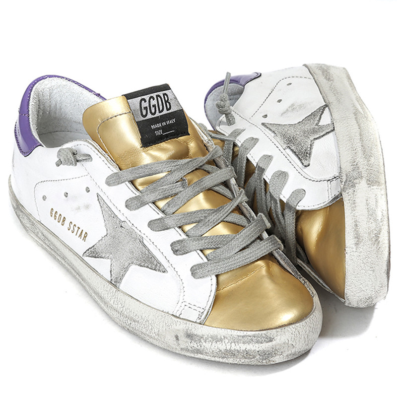 Italy Brand Original Golden Goose White Gold Casual Shoes Women Handmade Do Old Shoes GGDB Men Genuine Leather Scarpe Uomo 2016<br><br>Aliexpress