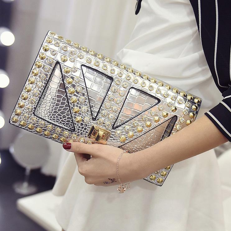 New summer handbag tide Europe envelope Silver classic crocodile pattern Fashion Shoulder Bag ladies Characteristic clutch bags(China (Mainland))