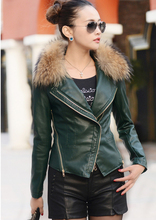 2015 genuine leather jacket with natural raccoon fur women sheepskin coat motorcycle leather coat Free shipping L112(China (Mainland))