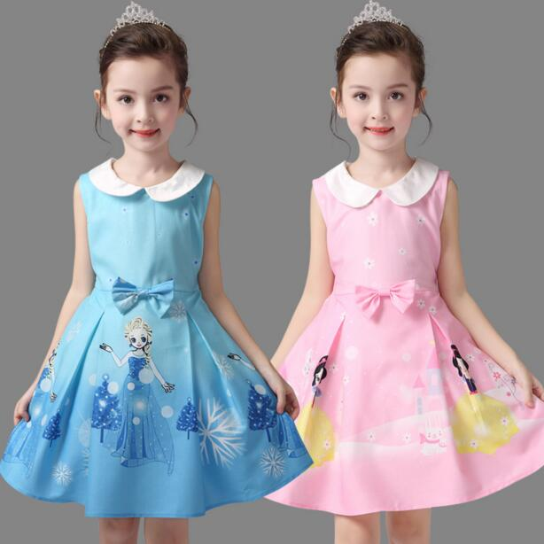 New 2017 baby girls Snow White dress flower children party dresses, kids Evening dress, performance costume Children's day gift(China (Mainland))