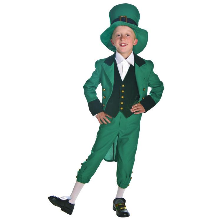 kinderen kleding 2015 prestaties groene ierse geluk geest fee broek kind hoed halloween cosplay kostuums goedkope csx01 film(China (Mainland))