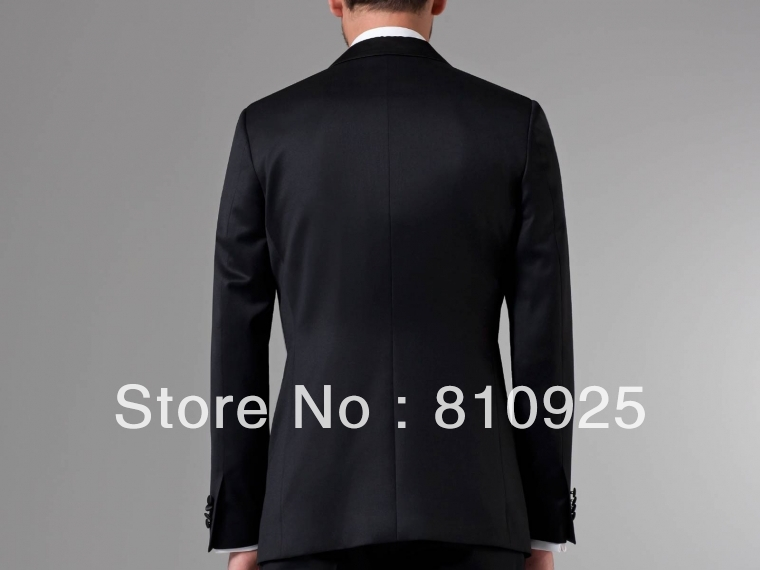 custom made groom tuxedos black with black stain three piece wool suits for wedding grooms suits
