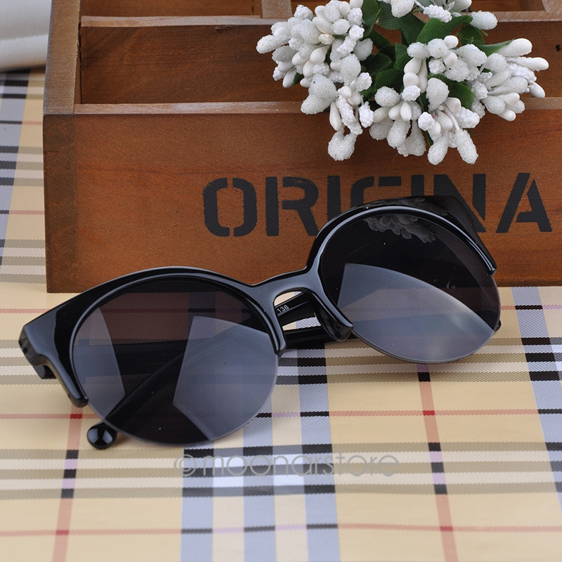 2015 Vintage Retro Cat Eye Round Sunglasses Fashion Stylish Semi-Rim
