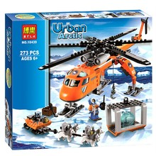 10439 Urban Arctic Series Helicopter Transport Rescue Team Bricks Toys Iron Man Base  Building Block Toys(China (Mainland))