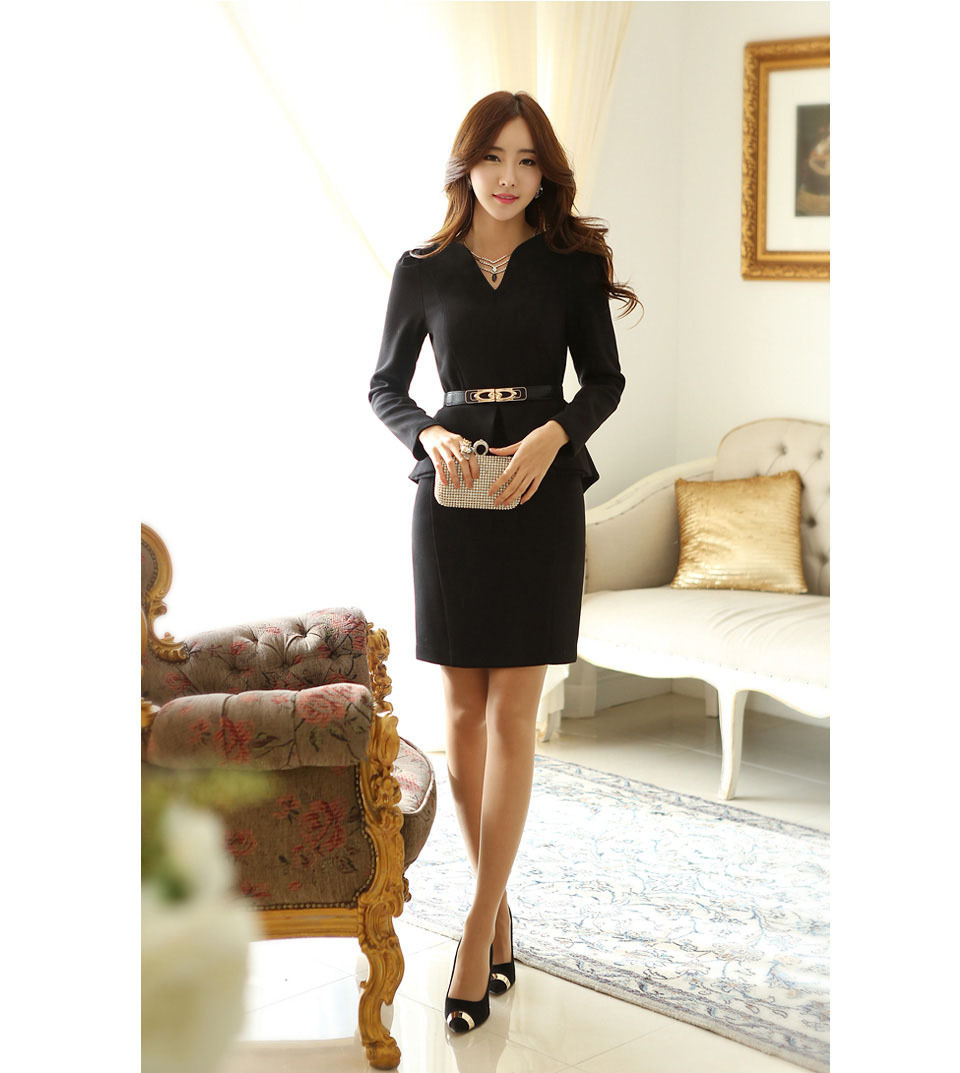 Dress Warm Autumn Winter 2015 Korean Fashion Flounced V Neck Long Sleeve Dress Casual Dress