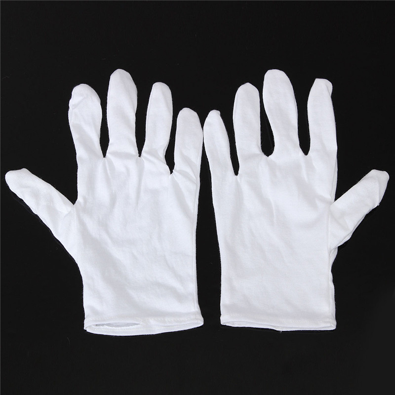 1 Pair  Useful White Cotton Gloves For Housework Workers With Knits For Safely Security Working Labor Free Shipping