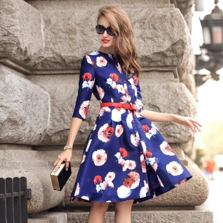 2015 new women's floral flower print three quarter sleeve boutique dress - Chic Classic Store store