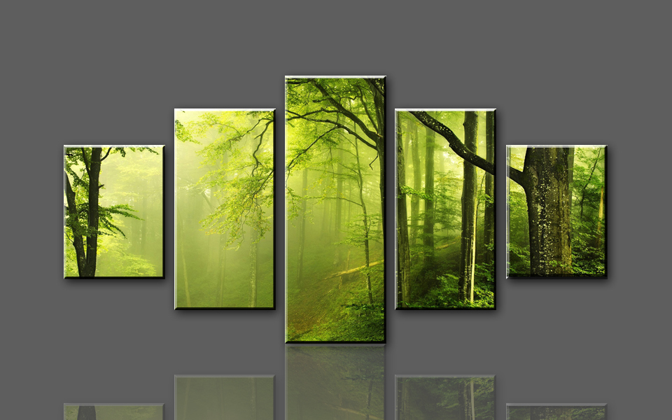 Buy h719 green woods and paths 5 panel for Artwork on canvas for sale