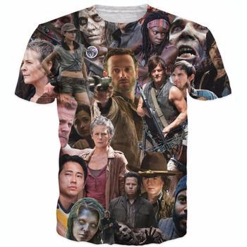 Raisevern new fashion mens 3D t shirt The Walking Dead T-Shirt Rick Grimes Carl Daryl Michonne zombies 3d tees shirts