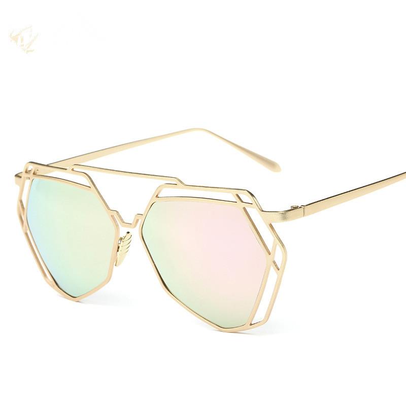 2016 Fashion Metal Frame Unique Geometry Sunglasses Women Classic Brand Designer Twin-Beams Sun Glasses Coating Mirror BB2227(China (Mainland))