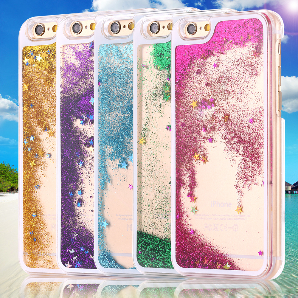 Ultra Thin Clear Back Case For iphone 6 Plus 5.5 Inch for apple6 4.7 Liquid Glitter Bling Sand Star Quicksand Mobile Phone Cover(China (Mainland))