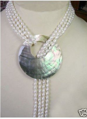 Charming TAHITIAN 4 Rows Cultured White Pearl Necklace Shell Pendant Fashion AKOYA Free shipping