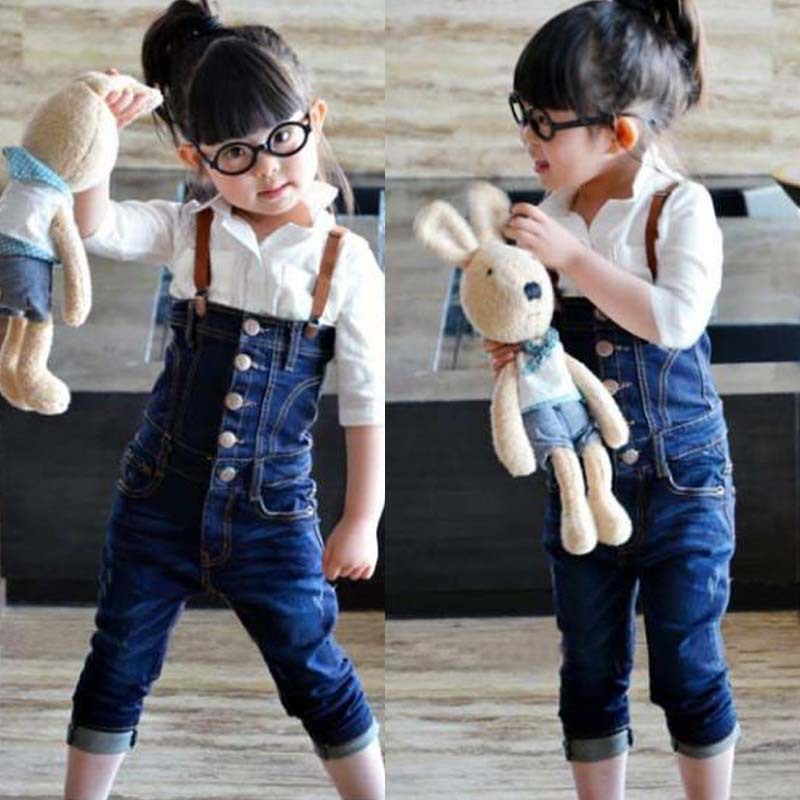 2014 HOT children bule denim jeans cheap 3-7 yrs old baby wear girls overalls kids causal pants trousers - Choice Group International Ltd. store