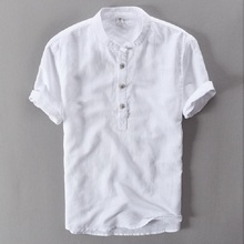 Buy Mens Shirts Fashion 2017 Summer Short Sleeve Slim Linen Shirts Male White Color Casual Shirts Plus Size Tops Camisa Masculina for $12.88 in AliExpress store