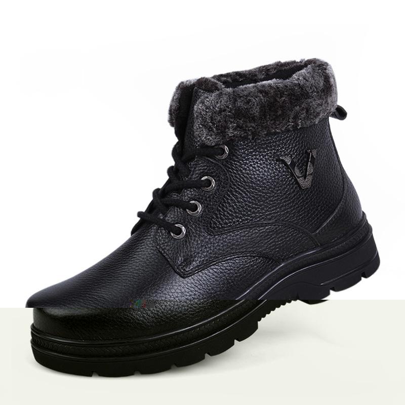 Plus Size Men boots best quality genuine leather winter shoes with fur shoes plus fur ashion men snow boots(China (Mainland))