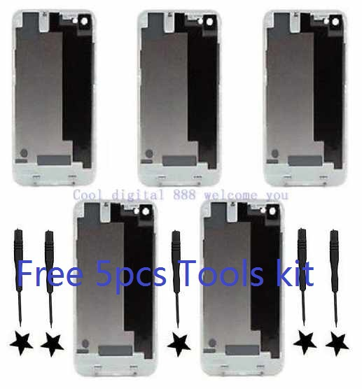 5pcs Replacement iPhone 4G AT&T GSM Back Cover Battery Door+ TOOL White(China (Mainland))