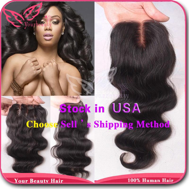 7A 3.5*4 Peruvian Lace Closure Body Wave Virgin Human Hair Closure With Bleached Knots Free MIiddle 3 Part Closure Free Shiping(China (Mainland))