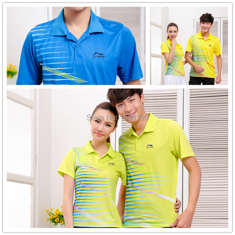 2015 LiNing Badminton Sport Polo shirt Men's and Women's Fashion Table Tennis Polo AAYH047 Wholesale and Dropshipping(China (Mainland))
