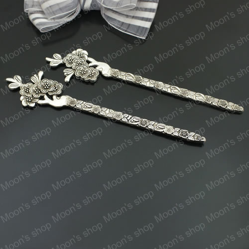 Free Shipping Wholesale 133*28mm Antique Silver Plum flower Alloy bookmark Hair stick Findings Accessories 5 pcs(JM2832)(China (Mainland))