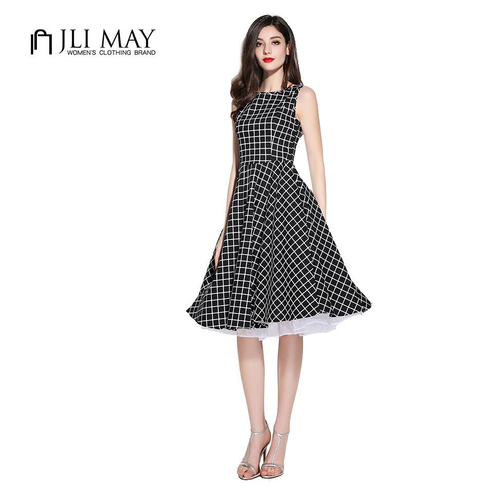 JLI 2016 Audrey Hepburn 50s Rockabilly swing black and white plaid with pocket midi plus size Party Vintage women summer Dress(China (Mainland))