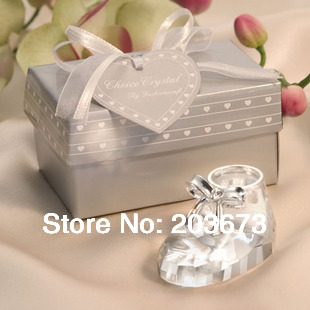 Mini Baby Shoes Shaped Wedding Crystal Favors With Paperweight Boxes Packaging For Home Decorations Crystal Gifts 10pcs per Lot(China (Mainland))
