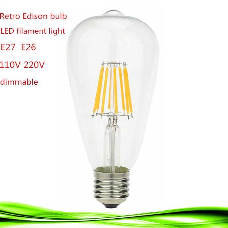 1X 2016 ST64 LED COB filament Retro Edison bulb lamp dimmable 2W 4W 6W 8W E27 E26 110V 220V White/Warm White Lampada ball light(China (Mainland))