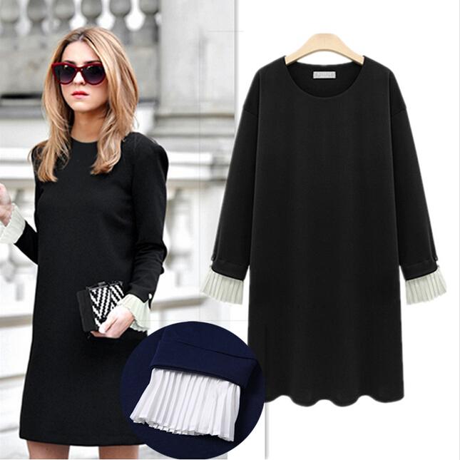 XL XXL plus size Dresses Women Long Sleeve Black Dress ...