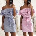 2017 New Summer Dresses Fashion Women Cute Casual Sexy Slash Neck Off Shoulder Ruffles Stripe Cotton