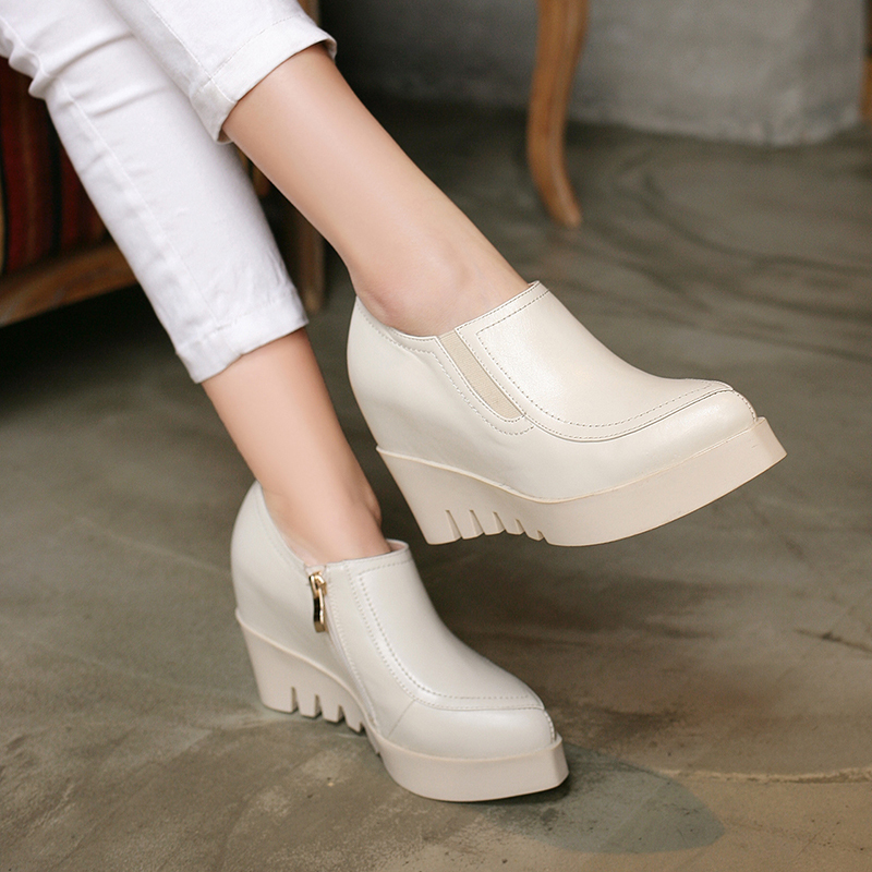 Black Beige Genuine Full Grain Leather Pointy Toe Heavy-bottomed Increased Inner Women Wedges Shoes 2015 Fall New Fashion Pumps<br>