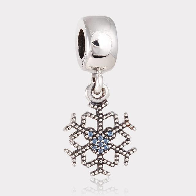 Подходит пандоры прелести браслет стерлингового серебра 925 бусины игристое снежинка шарм женщин DIY изготовления ювелирных изделий бесплатная доставка