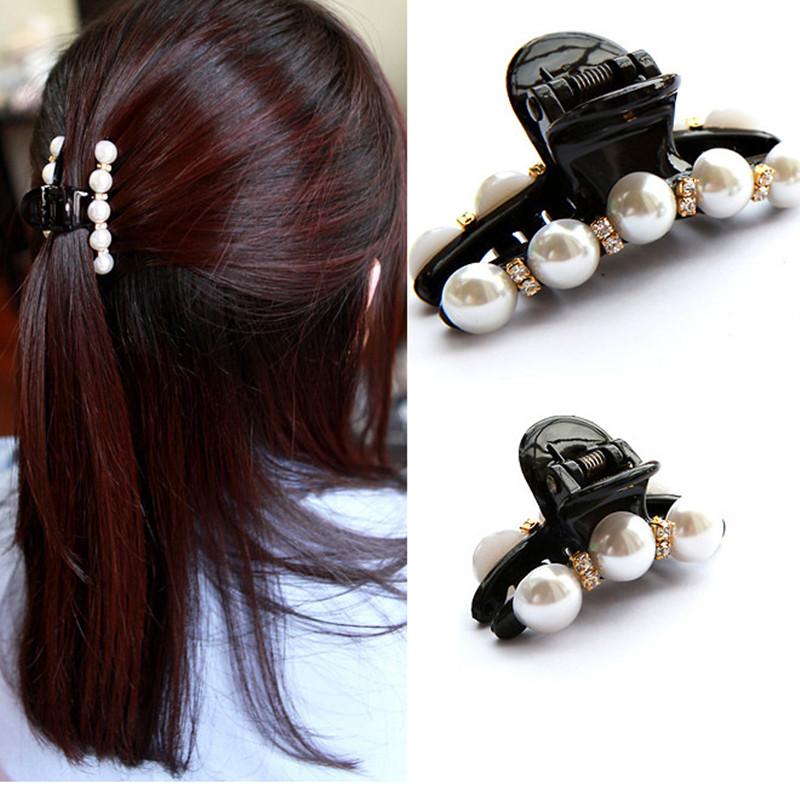 2017 New Fashion Crab Hair Hair Claws Imitation Pearl Lady Headwear Accessories for Women Hairpins Plastic Elastic Barrette Hot(China (Mainland))