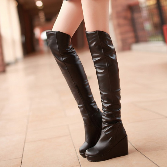 2015 New Winter Women Shoe Wedges High Heels Boots Knee Over Platforms Solid Bottom Long Boots(China (Mainland))